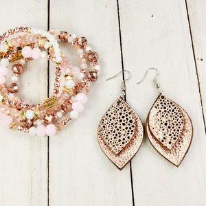 Jewelry - Rose Gold Metallic Stingray Leather Earrings (NWT)